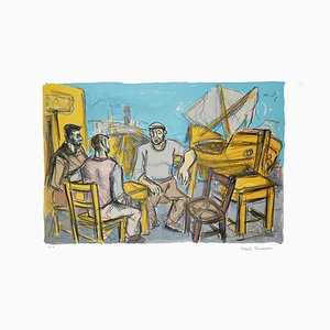 At the Harbor - Original Lithograph by Alberto Chiancone - 1970s 1970s