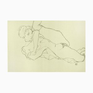 Lehnender Akt, Linkes Bein Angehoben - 2000er - Lithographie Nach Egon Schiele 2007