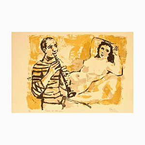 Model with Musician - Original Lithograph by Miguel Ibarz - Late 1900 Late 1900