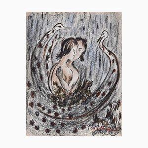 Peacocks - Original Mixed Media on Paper von Lucie Navier - 1930er 1930er