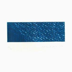 Composition Bleue - Aquatinte Originale par Piero Dorazio - 1984 1984