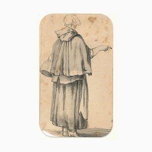 Figurine Breton Woman - Zeichnung von JP Verdussen - Ende 18. Jh. Ende 18. Jh