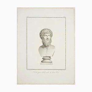 Testa Quasi Colossale di Lucio Vero - Etching by P. Fontana 1821