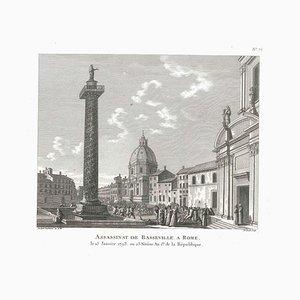 Assassinat de Basseville à Rome - Original Etching by P.G. Berthault - 1793 1793