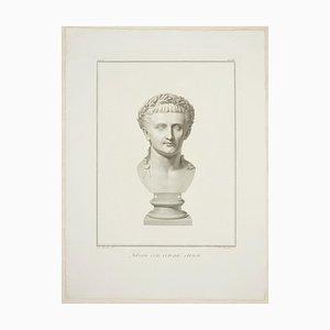 Büste des Tiberius - Original Radierung von P. Fontana Nach A. Tofanelli 1821