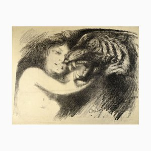 Caresses - Original Lithograph by Théo P. Wagner - 1890 1890