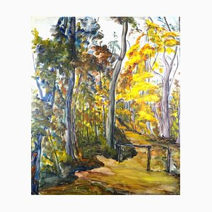 Paysage d'Alsace - Original Tempera and Watercolor on Paper by M. Frouin Mid 1900