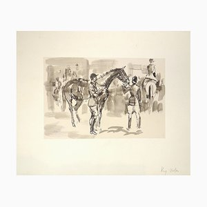 Horse and Horseman - Original Ink and Watercolor by J.L. Rey Vila 1950s
