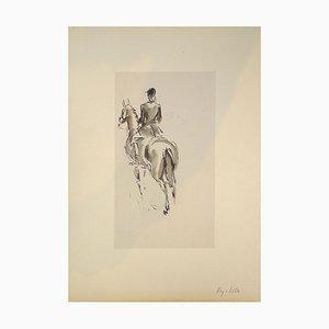 Horseman and Horse - Original Mixed Media by J.L. Rey Vila Second Half of 1900