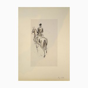 Reitpferd & Pferd - Original Mixed Media von JL Rey Vila Zweite Hälfte von 1900