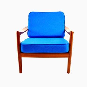 Blauer dänischer Vintage Sessel
