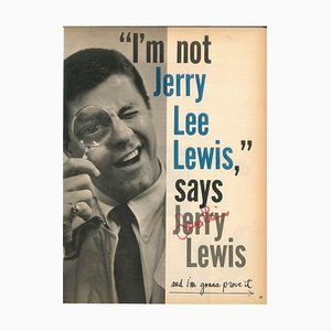 Poster ''I'm not Jerry Lee Lewis, says Jerry Lewis'' and Autograph Signature 1970s