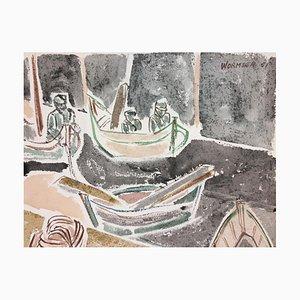 Boats - Original Aquarell auf Papier von Henry Wormser - 1951 1951