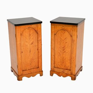 Antique Swedish Satin Birch Bedside Cabinets, Set of 2