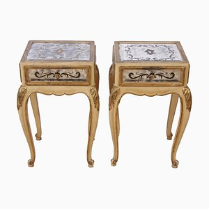 Eglomise Mirrored Bedside Tables, 1940s, Set of 2