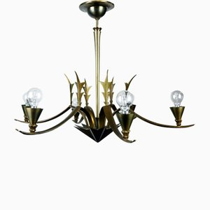 Art Deco Brass Chandelier, 1930s