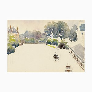 Boats - Watercolor by French Master - Mid 20th Century Mid 20th Century