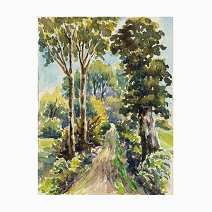 Forest - Watercolor by French Master - Mid 20th Century Mid 20th Century