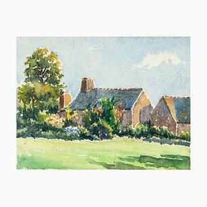 Village Houses - Aquarell von French Master - Mid 20th Century Mid 20th Century