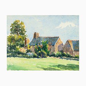 Village Houses - Watercolor by French Master - Mid 20th Century Mid 20th Century