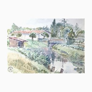 Landscape - Original Watercolor von S. Goldberg - Mid 20th Century Mid 20th Century