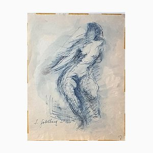 Nude - Original Pen Drawing and Watercolor by S. Goldberg - Mid 20th Century Mid 20th Century