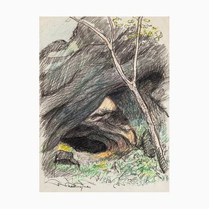 The Cave - Pencil and Pastel Drawing by M. Juan - Late 20th Century Late 20th Century