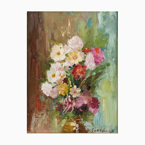Explosion of Flowers - Oil on Panel by Italian Artist Early 20th Century Early 20th Century