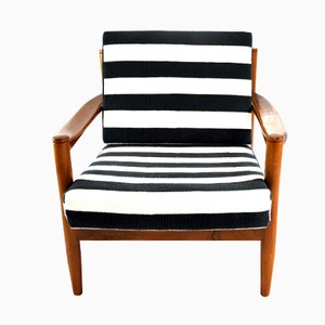 Black and White Striped Vintage Lounge Chair