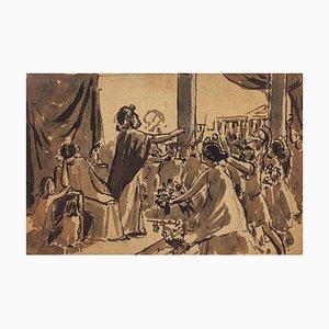 Scena antica - Acquarello originale di Maurice Gueroult - Fine XIX secolo, fine XIX secolo
