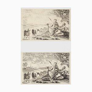 Shepherds - Set of 2Original Etchings - 1760 ca. 1760 ca.