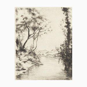 River - Original Lithographie von Marcel Roche - Frühes XX. Jahrhundert Frühes XX. Jahrhundert