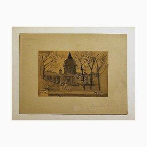 Paris - Original Drawing in Watercolor by Jaques Ivane - 1953 1953