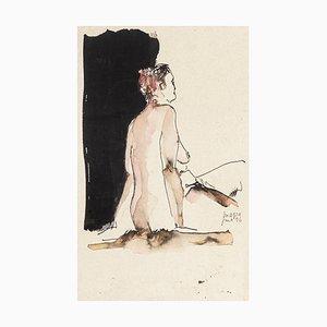Frau - Original Zeichnung in Aquarell und China Tinte - 1996 1996