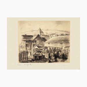 Village - Original Aquarell und Feder von Paul Albert Moras - 1926 1926