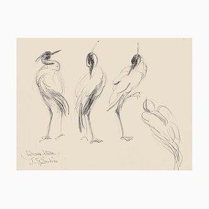 Birds - Original Feder auf Papier von Jeanne le Soudiere - 20. Jahrhundert