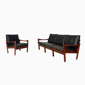 Sofa and Lounge Chair by Illum Wikkelso for Niels Eilersen