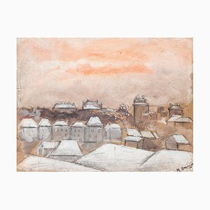 Village - Original Drawing in Mixed Media by M. Babillot - 20th Century 20th century