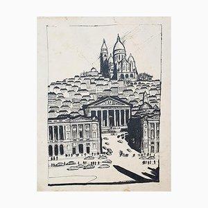 Paris Landscape - Original Drawing on Paper - 20th Century 20th Century