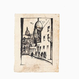 Paris Landscape - Original Drawing on Paper - 20th Century 20th Century