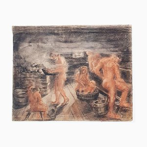 Sauna - Original Drawing in Charcoal e Sanguine on Paper - 20th Century 20th Century
