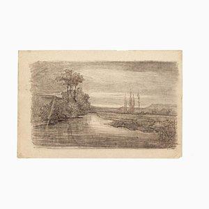 Landscape - Originalzeichnung in Bleistift auf Papier - 20. Jahrhundert 20. Jahrhundert