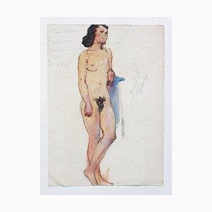 Nackte Frau - Originalzeichnung in Mischtechnik auf Papier - 20. Jahrhundert 20. Jahrhundert