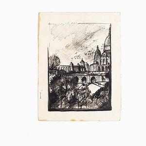 Paris Landscape - China Tinte und Schwarze Markierung auf Papier - 1950 ca. 20. Jahrhundert