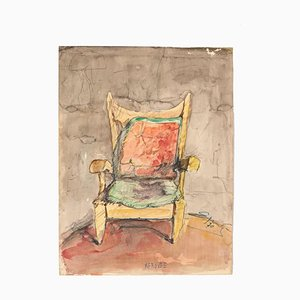 Chair - Original Drawing in Watercolor - 20th Century 20th century