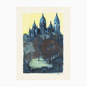Basilica of the Sacred Heart of Paris - Original Watercolor - 1970 1970