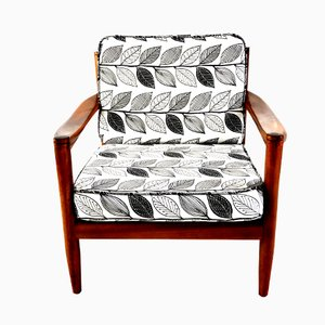 Vintage Danish Teak Lounge Chair with Leaf Print