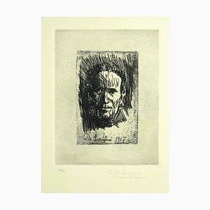Mother's Portrait - Original Etching by Pio Semeghini - 1964 1964