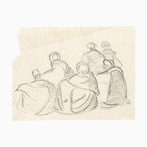 Study of Figures - Original Charcoal Drawing by Hélène Vogt - 1970s 1970s