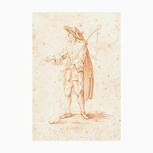 Tamer of Horses - Original Sanguine Drawing by J. Galsberg - Late 18th Century Late 18th Century